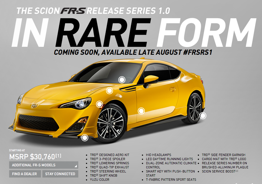Scion, FRS, ScionFRS, Release Series, Release Series 1.0, ZN6, TRD FRS, GT86, FRSRS1