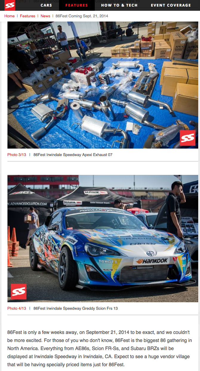 Super Street, Scion FRS, Apex'i, GReddy, 86FEST